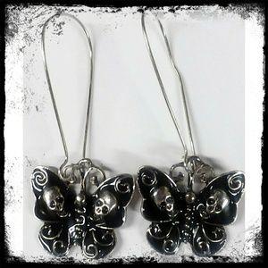 Jewelry - Butterfly Skull Fashion Long Earrings
